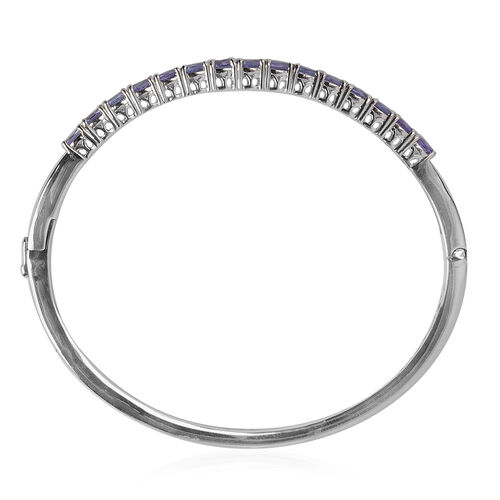 Tanzanite (Ovl) Bangle (Size 7.5) in Platinum Overlay Sterling Silver 4.463 Ct. Silver wt 14.50 Gms.