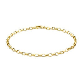 9K Yellow Gold Oval Belcher Bracelet (Size 7)