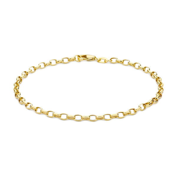9K Yellow Gold Oval Belcher Bracelet (Size 7)