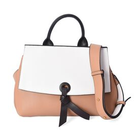 100% Genuine Leather Beige and White Colour Bag (Size 26x12.5x22.5 Cm) with Detachable Shoulder Stra