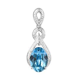 J Francis Aquamarine Colour Crystal from Swarovski and Diamond Drop Pendant in Sterling Silver