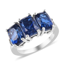 5.05 Ct Minas Gerais Twilight Quartz and Diamond Trilogy Ring in Platinum Plated Silver