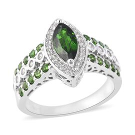 2.24 Ct Russian Diopside and Zircon Halo Ring in Rhodium Plated Sterling Silver 5.57 Grams