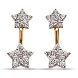 Sundays Child Natural Cambodian Zircon Star Earrings in 14K Gold Overlay Sterling Silver 2.700 Ct.,