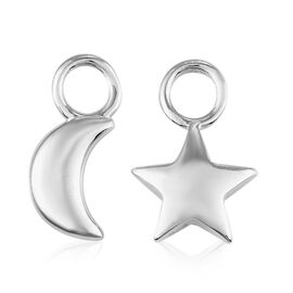 Charms De Memoire - 2 Piece Set - Platinum Overlay Sterling Silver Moon and Star Charm