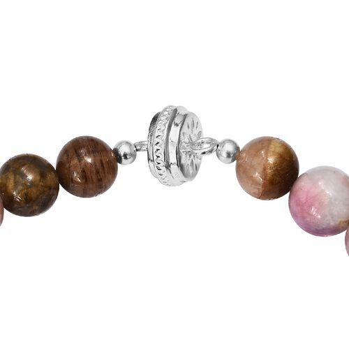 Rare Size Multi-Tourmaline Sterling Silver Necklace (Size 18) 530.00 Ct. with Magnetic Clasp