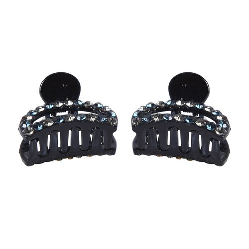 Set of 2 - Crystal Studded Small Hair Claw Clip - Grey and Blue Black