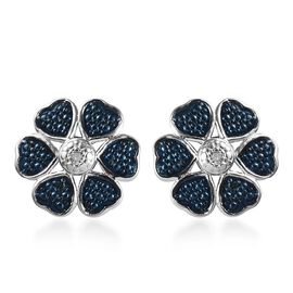 Blue and White Diamond (Rnd) Floral Stud Earrings (with Push Back) in Platinum and Blue Overlay Ster
