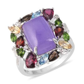 Purple Jade (Cush 8.00 Ct), Russian Diopside and Multi Gemstone Ring in Rhodium Overlay Sterling Sil