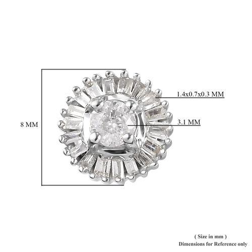9K White Gold SGL Certified Diamond (I3/G-H) Stud Earrings (with Push Back) 0.50 Ct.
