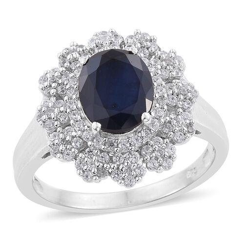 Kanchanaburi Blue Sapphire (Ovl 3.00 Ct), Natural Cambodian Zircon Flower Ring in Platinum Overlay Sterling Silver 4.000 Ct.