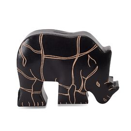 Handmade and Hand Painted Rhino Coin Bank (Size 17x4x12 Cm) - Black