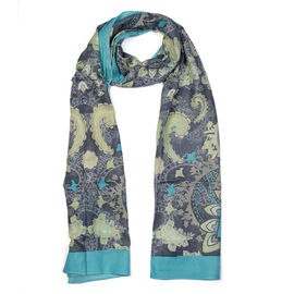 Jackquard Print Scarf (Size 180x50 Cm) - Sky Blue and Grey