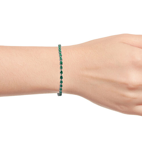 Kagem Zambian Emerald (Pear 5x3 mm) Bracelet (Size 7.5) in Platinum Overlay Sterling Silver 6.250 Ct, Silver wt 8.48 Gms.