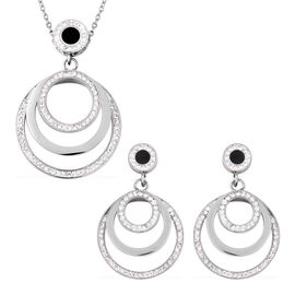 2 Piece Set - White Austrian Crystal (Rnd) Three Gradual Ring Necklace (Size 20) and Earrings (with