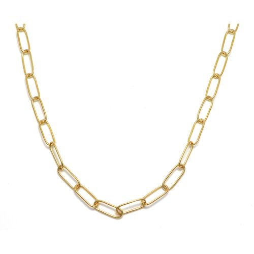 Viale Argento Yellow Gold Overlay Sterling Silver Paper Clip Link Chain (Size 20)