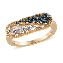 Blue and White Diamond (Bgt) Ring in 14K Gold and Platinum Overlay with Blue Plating Sterling Silver