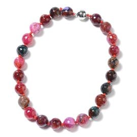 642 Ct Multi Agate Beaded Necklace in Rhodium Plated Sterling Silver 18 Inch