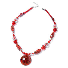 Murano Style Glass (Rnd), Simulated Red Garnet, Simulated Grey Spinel Necklace (Size 28 and 2.5 inch Extender) in Silver Tone