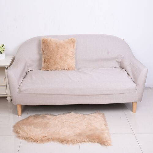 2 Piece Set - Faux Fur Small Carpet (100x60cm) with Cushion (45x45cm-1Pc) - Beige