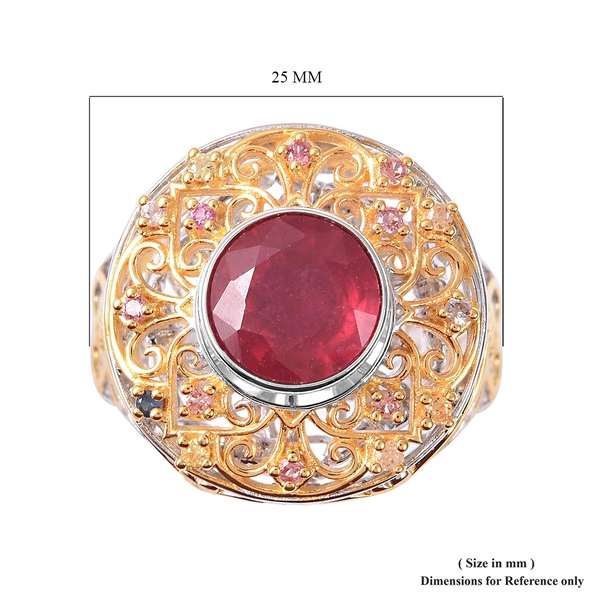 Niassa Ruby, Multi Sapphire Ring in Vermeil Yellow Gold Overlay Sterling Silver 4.15 Ct, Silver Wt 9.90 Gms.