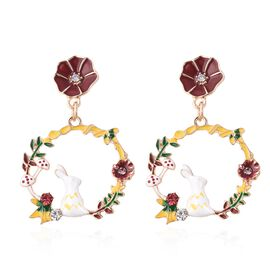 Pink and White Austrian Crystal Enamelled Bunny Floral Circle Earrings with Push Back in Gold Tone