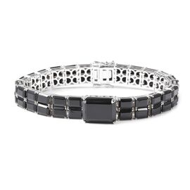 68.75 Ct Natural Boi Ploi Black Spinel Tennis Design Bracelet in Rhodium Plated Silver 7 Inch