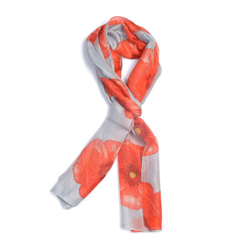 100% Mulberry Silk Orange Poppy Flower Pattern Grey Colour Scarf (Size 180X50 Cm)