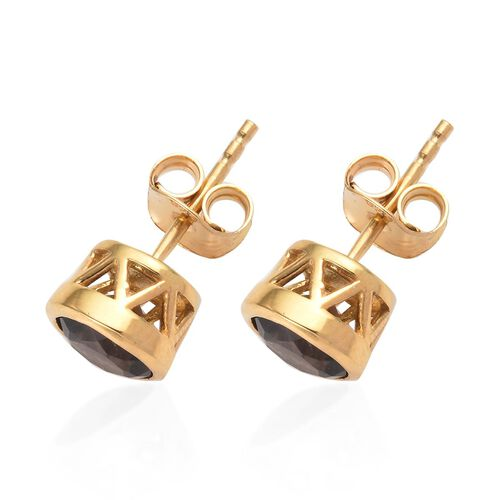 Brazilian Smoky Quartz (Rnd) Stud Earrings (with Push Back) in 14K Gold Overlay Sterling Silver 1.50 Ct.