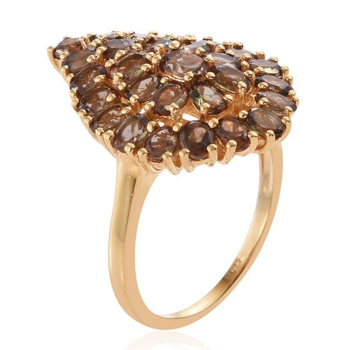 Jenipapo Andalusite (Ovl) Cluster Ring in 14K Gold Overlay Sterling Silver 4.500 Ct. Silver wt 5.22 Gms.