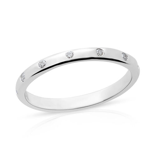 9K White Gold SGL Certified Diamond (Rnd) (I3/G-H) Band Ring 0.150 Ct.