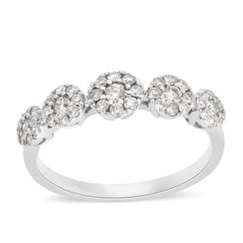 New York Close Out 9K White Gold Diamond (Rnd) (I1-I2 /G-H) Ring 0.500 Ct.