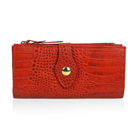 100% Genuine Leather Maroon Red Colour Wallet With RFID Blocking (Size 19x2.5x10 Cm)