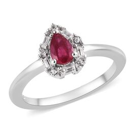 African Ruby (Pear 6x4 mm), Natural White Cambodian Zircon Ring in Platinum Overlay Sterling Silver