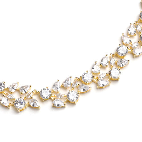 Lustro Stella Simulated Diamond Necklace (Size 18) in Yellow Gold Overlay Sterling Silver, Silver wt. 39.00 Gms