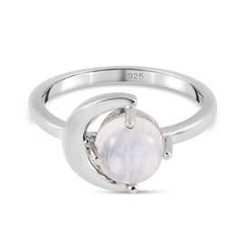 Rainbow Moonstone Ring in Platinum Overlay Sterling Silver 1.78 Ct.