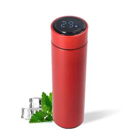 Smart Vacuum Insulated Water Bottle in Stainless Steel and Temperature Indicator  - 480ml - Red