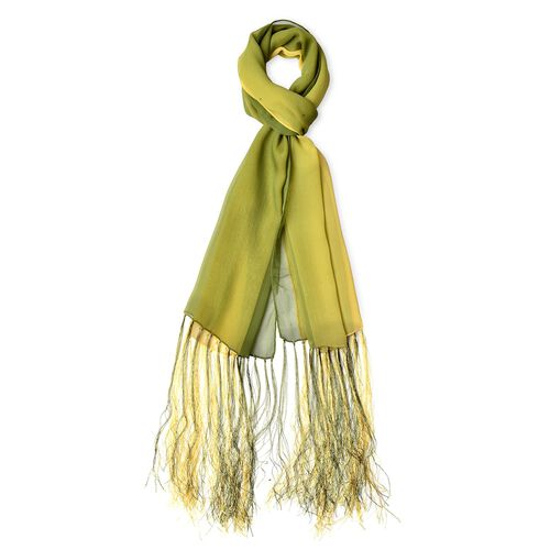 100% Mulberry Silk Green and Yellow Colour Scarf with Long Tassels (Size 160X50 Cm)