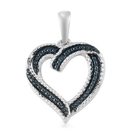 Blue Diamond Open Heart Pendant in Platinum Overlay Sterling Silver Heart