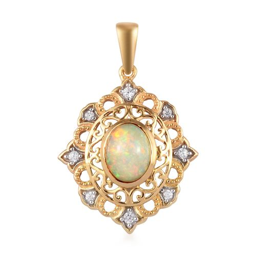 Ethiopian Welo Opal and Natural Cambodian Zircon Pendant in 14K Yellow and White Gold Overlay Sterli
