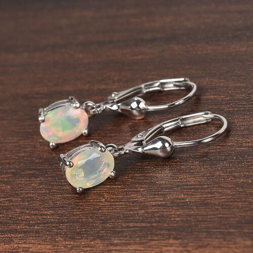 AA Ethiopian Welo Opal (Ovl) Lever Back Earrings in Platinum Overlay Sterling Silver 1.000  Ct.