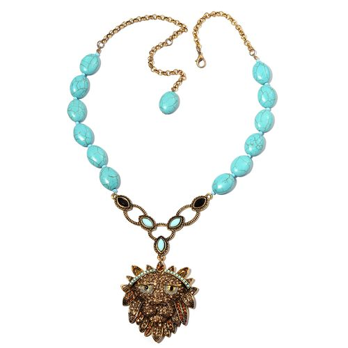 Limited Edition- Designer Inspired- Blue Howlite (Ovl), Multi Colour Austrian Crystal and Lion Head Necklace (Size 20 with 3 inch Extender) in Yellow Gold Plated.