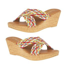 Lotus Jacinta Mule Wedge Sandals in Rainbow Colours