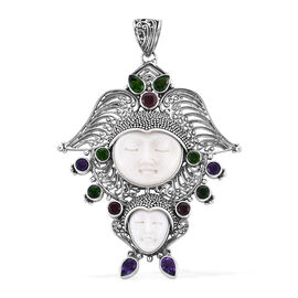 Princess Bali Collection OX Bone Carved Face (Rnd), Russian Diopside,Mozambique Garnet and Amethyst