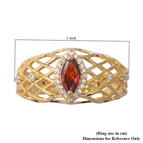 ELANZA Simulated Ruby and Simulated Diamond Ring in Yellow Gold Overlay Sterling Silver