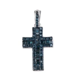 Blue Diamond (Rnd and Bgt) Cross Pendant in Platinum Overlay Sterling Silver 0.50 Ct.