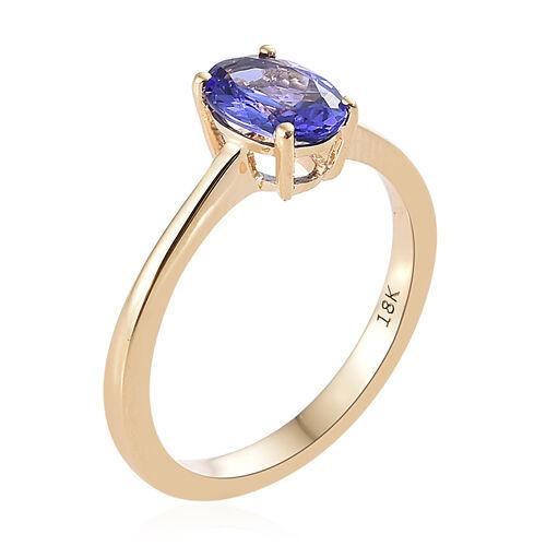 ILIANA 18K Y Gold AAA Tanzanite (Ovl) Solitaire Ring 1.000 Ct.