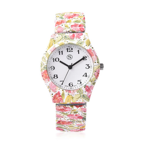 STRADA Japanese Movement Pink Floral Pattern Water Resistant Watch with Stretchable Strap (Size 6.5-
