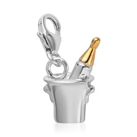 Platinum and Yellow Gold Overlay Sterling Silver Bottle in Bucket Charm