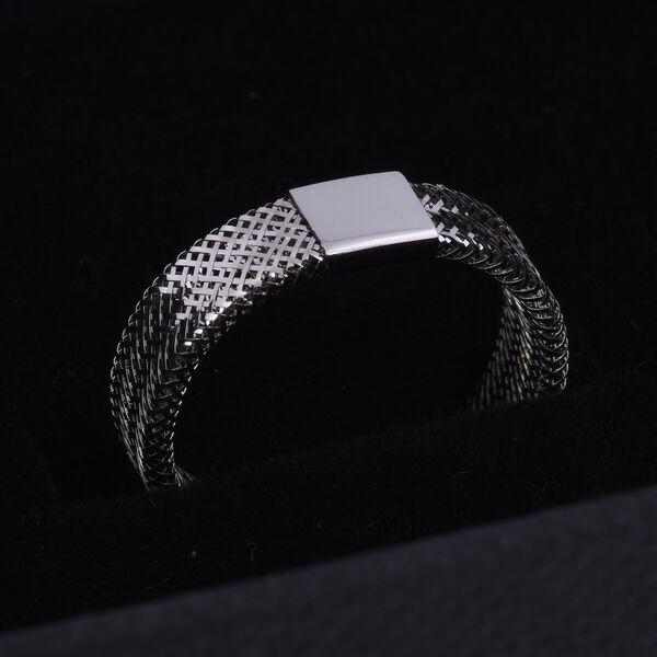 Italian Made - 9K White Gold Stretchable Ring (Size Medium) (Size J to P)